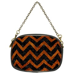 Chevron9 Black Marble & Brown Marble Chain Purse (one Side) by trendistuff