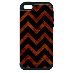 Chevron9 Black Marble & Brown Marble Apple Iphone 5 Hardshell Case (pc+silicone) by trendistuff