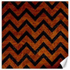 Chevron9 Black Marble & Brown Marble (r) Canvas 16  X 16  by trendistuff