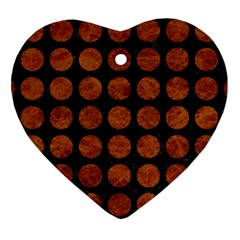 Circles1 Black Marble & Brown Marble Heart Ornament (two Sides) by trendistuff