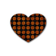 Circles1 Black Marble & Brown Marble Rubber Coaster (heart) by trendistuff
