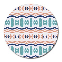 Shapes And Waves                                                                                                                  			round Mousepad by LalyLauraFLM
