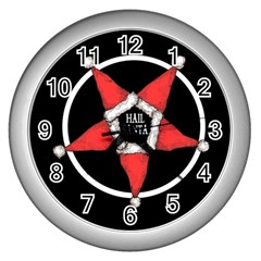 Hail Santa Wall Clocks (silver)  by lvbart