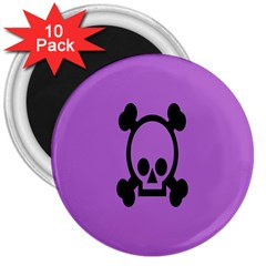 Cartoonskull Danger 3  Magnets (10 Pack)