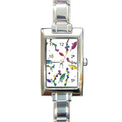 Abstract Floral Design Rectangle Italian Charm Watch by Valentinaart