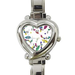 Abstract Floral Design Heart Italian Charm Watch by Valentinaart