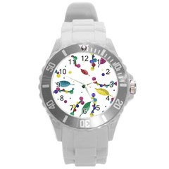 Abstract Floral Design Round Plastic Sport Watch (l)