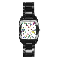 Abstract Floral Design Stainless Steel Barrel Watch by Valentinaart