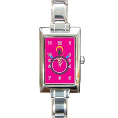 Alarm Clock Houre Rectangle Italian Charm Watch