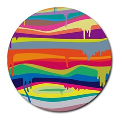 Colorfull Rainbow Round Mousepads by AnjaniArt