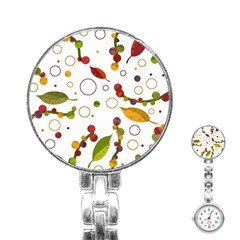 Adorable Floral Design Stainless Steel Nurses Watch by Valentinaart