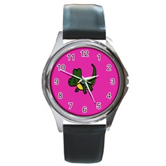 Crocodile Round Metal Watch