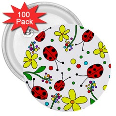 Ladybugs 3  Buttons (100 Pack)  by Valentinaart