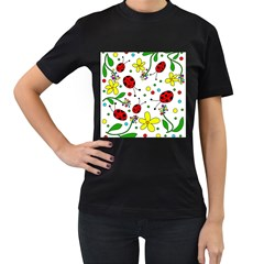 Ladybugs Women s T-shirt (black) (two Sided) by Valentinaart