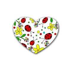 Ladybugs Rubber Coaster (heart)  by Valentinaart