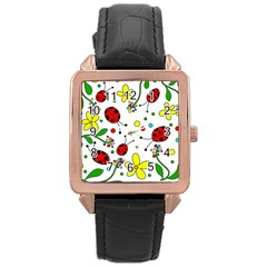 Ladybugs Rose Gold Leather Watch  by Valentinaart