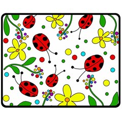 Ladybugs Double Sided Fleece Blanket (medium)  by Valentinaart