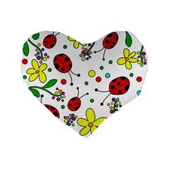 Ladybugs Standard 16  Premium Flano Heart Shape Cushions by Valentinaart