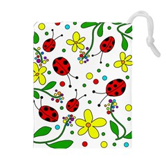 Ladybugs Drawstring Pouches (extra Large) by Valentinaart