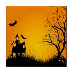 Day Halloween Night Face Towel by AnjaniArt