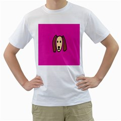 Face Dog Men s T Shirt (white) (two Sided)