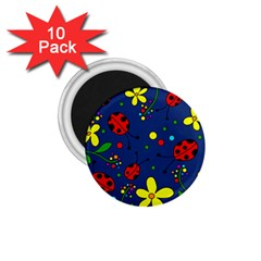 Ladybugs - Blue 1 75  Magnets (10 Pack)  by Valentinaart