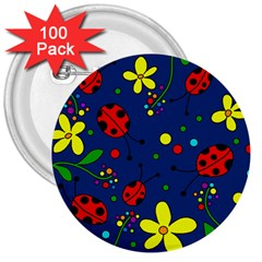 Ladybugs   Blue 3  Buttons (100 Pack)  by Valentinaart