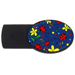 Ladybugs   Blue Usb Flash Drive Oval (2 Gb)  by Valentinaart