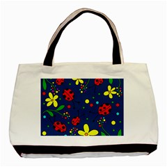 Ladybugs   Blue Basic Tote Bag by Valentinaart