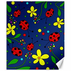 Ladybugs - Blue Canvas 20  X 24   by Valentinaart