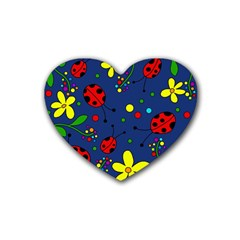 Ladybugs   Blue Rubber Coaster (heart)  by Valentinaart