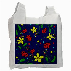 Ladybugs   Blue Recycle Bag (two Side)  by Valentinaart