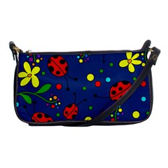 Ladybugs   Blue Shoulder Clutch Bags by Valentinaart