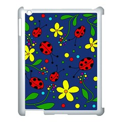 Ladybugs   Blue Apple Ipad 3/4 Case (white) by Valentinaart
