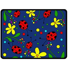 Ladybugs   Blue Double Sided Fleece Blanket (large)