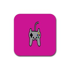Game Pink Rubber Coaster (square)  by AnjaniArt