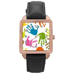 Hand Rose Gold Leather Watch
