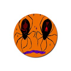 Happy Hellpween Spider Rubber Coaster (round)  by AnjaniArt