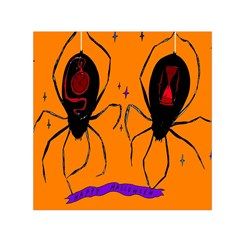 Happy Hellpween Spider Small Satin Scarf (square) by AnjaniArt