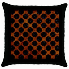 Circles2 Black Marble & Brown Marble (r) Throw Pillow Case (black)