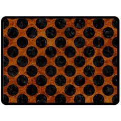 Circles2 Black Marble & Brown Marble (r) Fleece Blanket (large) by trendistuff