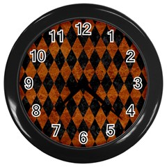 Diamond1 Black Marble & Brown Marble Wall Clock (black) by trendistuff