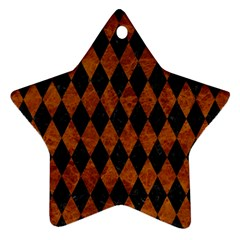 Diamond1 Black Marble & Brown Marble Star Ornament (two Sides) by trendistuff