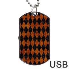 Diamond1 Black Marble & Brown Marble Dog Tag Usb Flash (one Side) by trendistuff