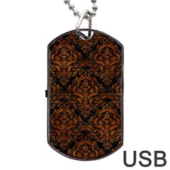 Damask1 Black Marble & Brown Marble Dog Tag Usb Flash (two Sides) by trendistuff