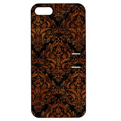 Damask1 Black Marble & Brown Marble Apple Iphone 5 Hardshell Case With Stand by trendistuff
