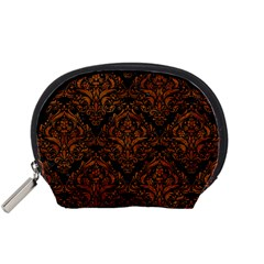 Damask1 Black Marble & Brown Marble Accessory Pouch (small) by trendistuff