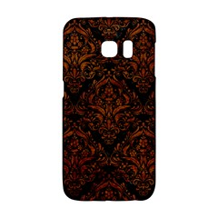 Damask1 Black Marble & Brown Marble Samsung Galaxy S6 Edge Hardshell Case by trendistuff