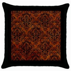 Damask1 Black Marble & Brown Marble (r) Throw Pillow Case (black)
