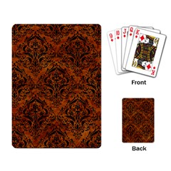 Damask1 Black Marble & Brown Marble (r) Playing Cards Single Design by trendistuff